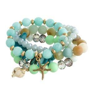 Jewelry - Seashell Natural Stones Stretch Bracelet Set
